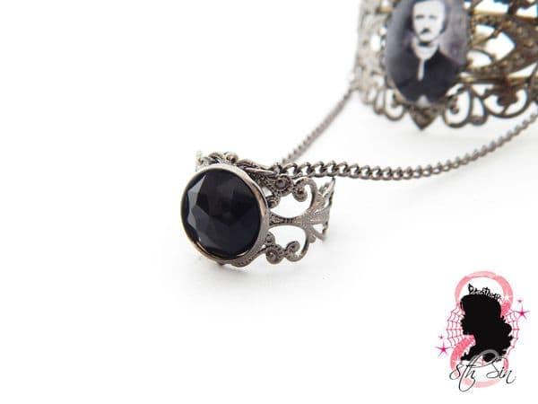 Gunmetal Black Edgar Allan Poe Bangle and Ring